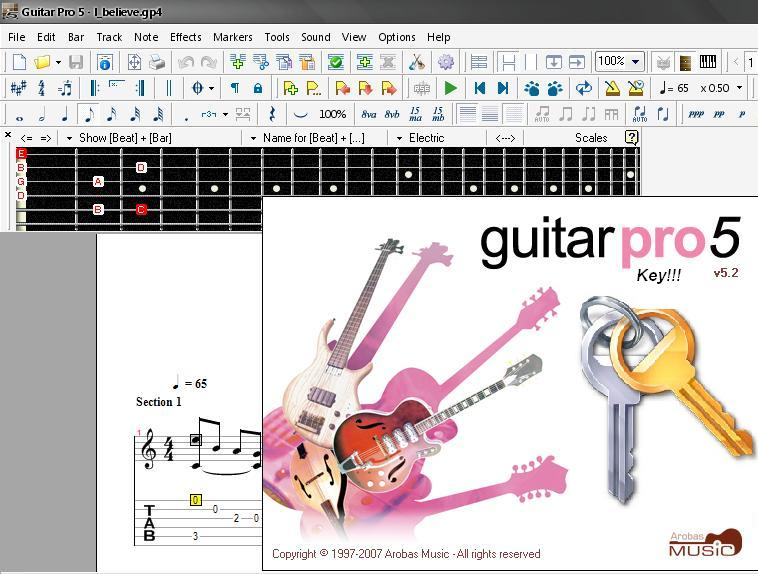 5. 5. Guitar Pro 5.2 (2007) PCСкачать Guitar. активации и имени воспользова